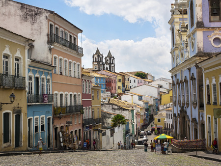 View of Colorful Historical Buildings in Pelourinho, Salvador, Bahia, Brazil Редакционное