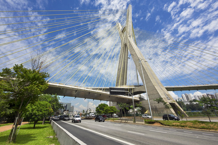 The Octavio Frias de Oliveira Cable-stayed Bridge, or Ponte Estaiada, in Sao Paulo, Brazil Banco de Imagens