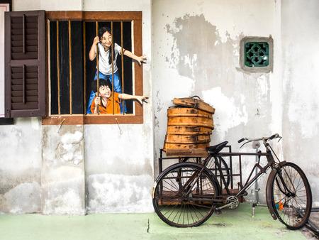 조지 타운, 페낭, 말레이시아에서 거리 예술 벽화 에디토리얼
