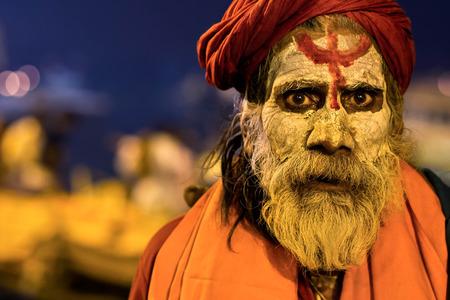 varanasi: Portrait of an Indian sadhu in Varanasi, Uttar Pradesh, India