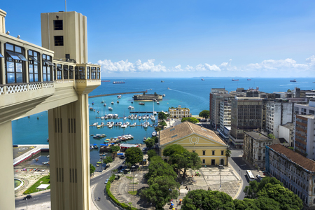 Lacerda Elevator and All Saints Bay Baia de Todos os Santos in Salvador, Bahia, Brazil.