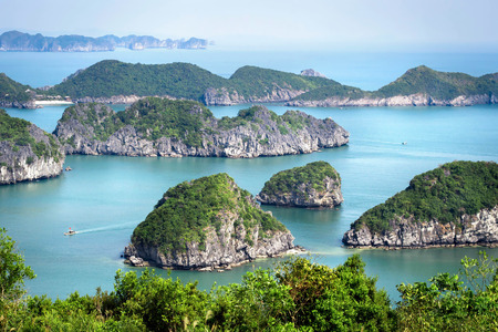 View of Halong Bay, North Vietnam. Stock Photo
