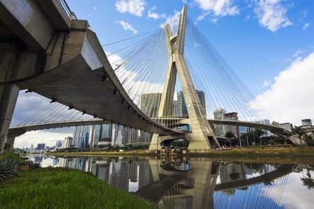 The Octavio Frias de Oliveira Bridge, or Ponte Estaiada, in Sao Paulo, Brazil.