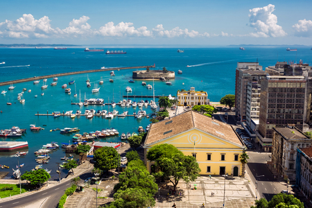 View of All Saints Bay Baia de Todos os Santos in Salvador, Bahia, Brazil.