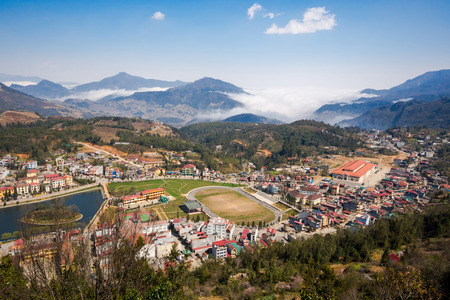 lao: General view of Sapa Town, Lao Cai Province, North Vietnam.