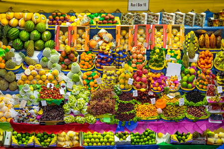 fruit stand: Colorful fresh fruit stand at the traditional Municipal Market, or Market in Sao Paulo, Brazil