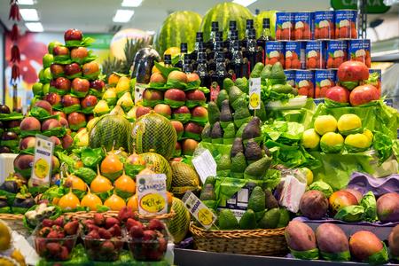 Colorful fresh fruit stand at Municipal Market in Sao Paulo, Brazil