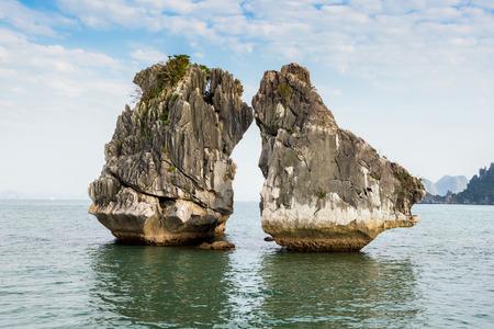 halong: The Kissing Rocks in Halong Bay, North Vietnam