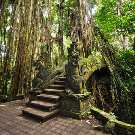 Famous Bridge in the Monkey Forest Sanctuary in Ubud, Bali, Indonesia