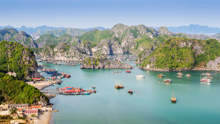 the bay: View of Halong Bay from Cat Ba Island, North Vietnam Stock Photo