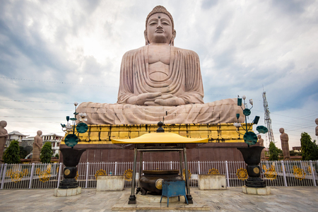 buddha lotus: The Great Buddha Statue in Bodhgaya, Bihar, India