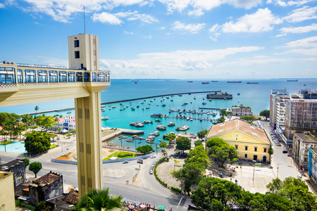 landscape: View of All Saints Bay Baia de Todos os Santos in Salvador, Bahia, Brazil Stock Photo