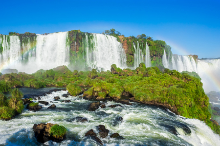 Iguazu Falls, on the Border of Argentina, Brazil and Paraguay Stock Photo