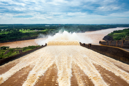 Spillway at Itaipu Dam, on the Border of Brazil and Paraguay Stock Photo