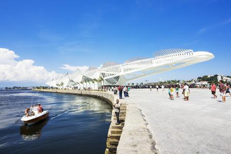 rio de janeiro: People at the Museum of Tomorrow (Tomorrow Museum) Designed by Santiago Calatrava, in Rio de Janeiro, Brazil Editorial