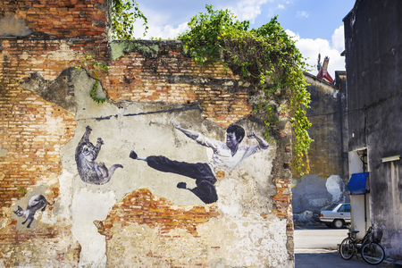 georgetown: Famous Bruce Lee Street Art Mural in Georgetown, Penang, Malaysia Editorial