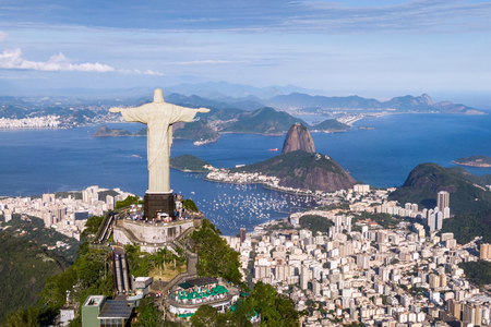Aerial View of Christ the Redeemer, Sugarloaf and Rio de Janeiro Cityscape, Brazil