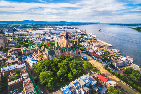 Aerial View of Quebec City and Old Port in Quebec, Canada