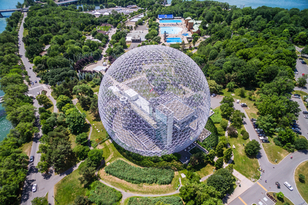 Aerial View of Montreal Biosphere Environment Museum at Parc Jean-Drapeau in Montreal, Quebec, Canada