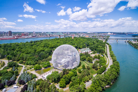 Aerial View of Montreal Showing the Biosphere Dome and Jacques Cartier Bridge in Quebec, Canada Editorial