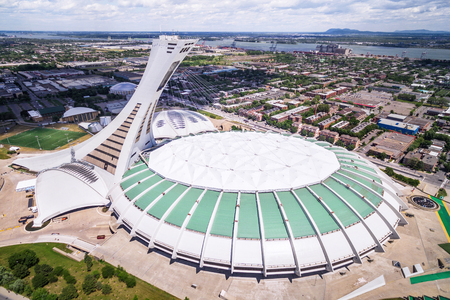Aerial View of the Montreal Olympic Stadium in Montreal, Quebec, Canada