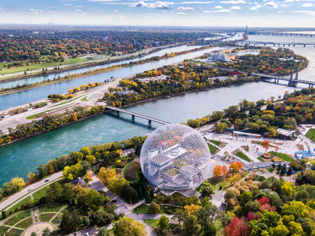 Aerial View of Montreal in Fall Season, Quebec, Canada Editorial