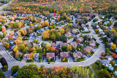 Aerial View of Residential Neighbourhood in the Suburbs of Montreal in Autumn Season, Quebec, Canada