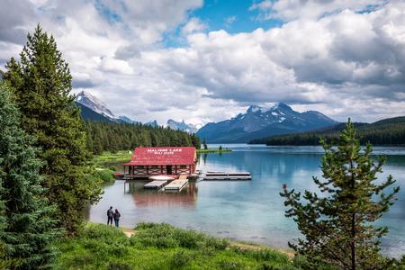 Maligne Lake During Summer in Jasper National Park, Alberta, Canada