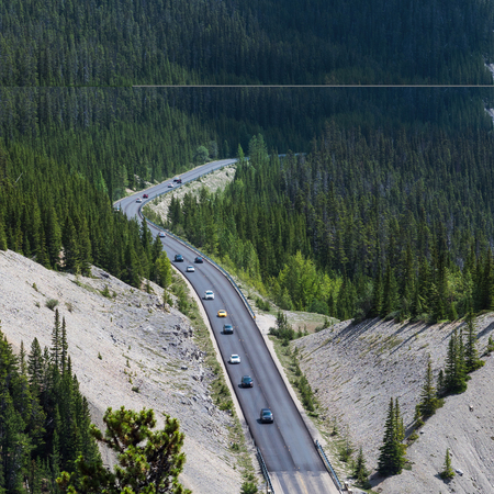Icefields Parkway Route Between Banff and Jasper National Parks in Alberta, Canada Stock Photo