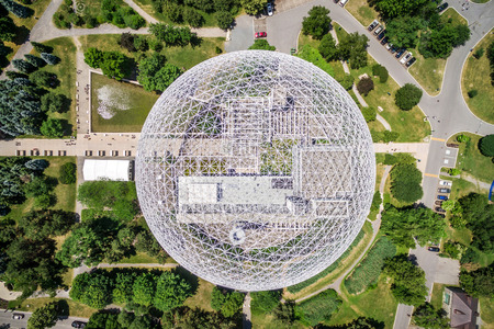 Top View of Montreal Biosphere Environment Museum at Parc Jean-Drapeau in Montreal, Quebec, Canada Editorial