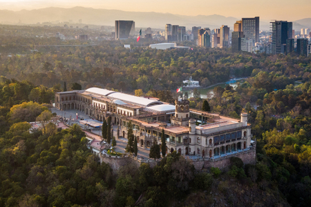 Mexico City, Mexico, Aerial View of Historical Landmark Chapultepec Castle at Sunset