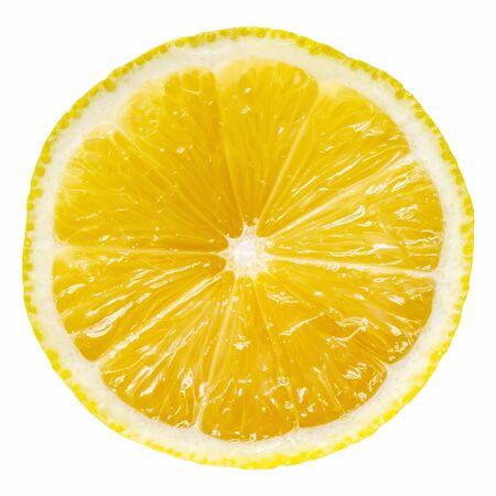 Lemon slice isolated on white background.