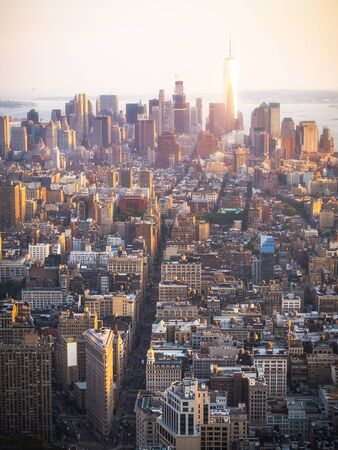 Lower Manhattan skyline at sunset, New York City, United States of America (USA). 写真素材