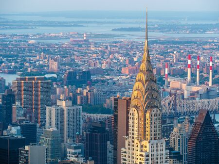 Manhattan skyline at sunset, New York City, United States of America (USA).
