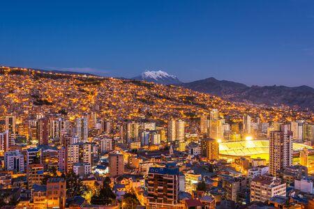 La Paz, Bolivia, Panoramic View of Cityscape and Illimani Mountain at Night