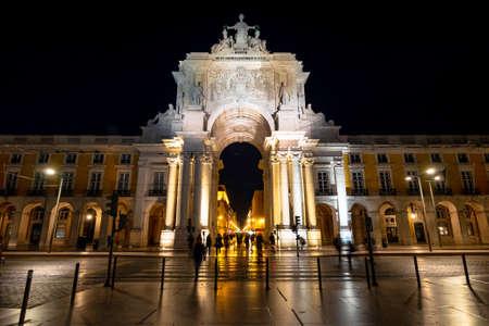 Historical landmark Rua Augusta Arch at Comercio Square in Lisbon, Portugal.