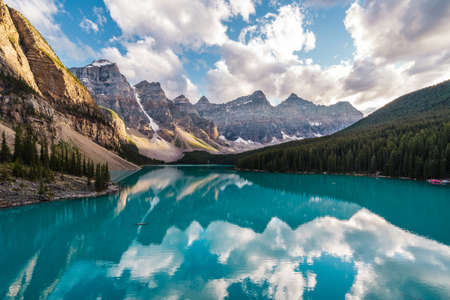 Moraine Lake at sunset in Banff National Park, Alberta, Canada.