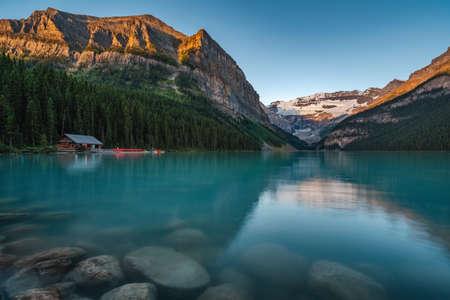 Lake Louise at sunrise in Banff National Park, Alberta, Canada.