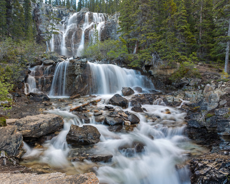 Tangle Falls, The second step of a lovely multi stepped falls on the Icefield Parkway in Jasper National Park, Alberta Canada. Stock Photo