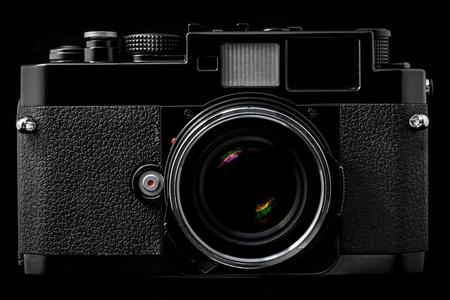 rangefinder: Vintage Film Rangefinder Camera Stock Photo