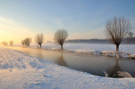 haze: Dutch winter landscape with snow and low sun