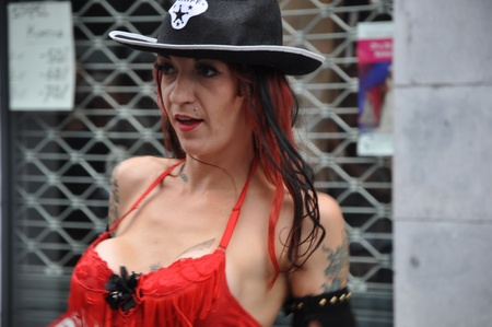 Breda, Netherlands, August 15, 2010, Harleyday, Heavily made-up and busty transvestite  at Harleyday in Breda (2010)