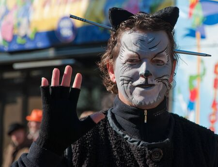 drimmelen: Made, North-Brabant, Netherlands – March 6, 2011 - Dutch carnival in the streets of a small village, portrait of a costumed man