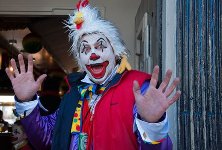 drimmelen: Made, North-Brabant, Netherlands – March 6, 2011 - Dutch carnival in the streets of a small village, portrait of a clown