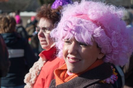 drimmelen: Made, North-Brabant, Netherlands – March 6, 2011 - Dutch carnival in the streets of a small village, smiling woman with a pink wig