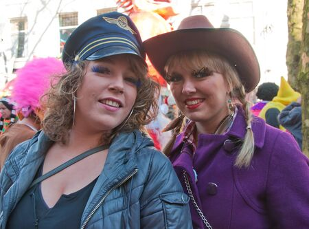 breda: Breda, North-Brabant, Netherlands – March 7, 2011 – Carnival Parade,  impression of the people, a pretty couple of friends