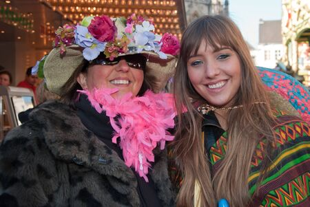 breda: Breda, North-Brabant, Netherlands – March 7, 2011 – Carnival Parade,  impression of the people, two women