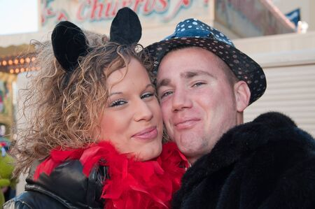 breda: Breda, North-Brabant, Netherlands – March 7, 2011 – Carnival Parade,  impression of the people, pretty couple