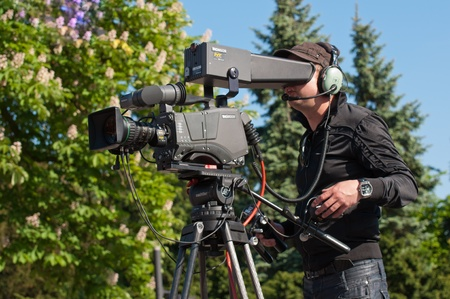 Made, North-Brabant, Netherlands, May 1, 2011,  Cameraman in action during the Profronde in the Dutch village of Made