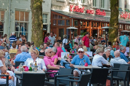Breda, North-Brabant, Netherlands, June 4, 2011, Jazzfestval 2011,  A drink on the terrace of the Grote Markt